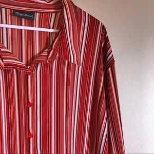 4X Maggie Barnes Scarlet Pinstriped Blouse